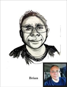 My buddy Brian and his Facebook profile picture. Sometimes when I need to practice I just open my Facebook feed and draw the first selfie I see.